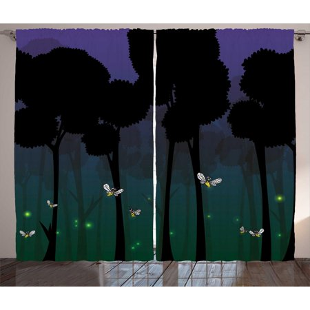 Firefly Curtains 2 Panels Set, Surreal Forest with Magic Wings Fairy Branches Beetles Kids Cartoon, Window Drapes for Living Room Bedroom, 108W X 96L Inches, Dark Brown Teal Violet, by