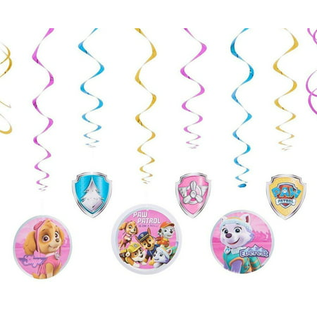 PAW Patrol Pink Hanging Party Decorations 12pc