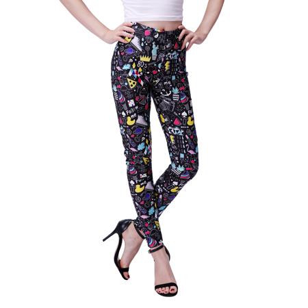 Neon Footless Leggings - HDE Women's 80's Retro Leggings Funky Digital Print Design Graphic Stretch Footless Fashion (X-Large, 80's Retro)