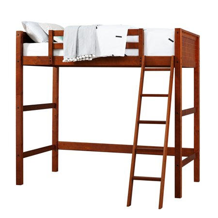 Your Zone Kids Wooden Loft Bed with Ladder, Twin, Walnut