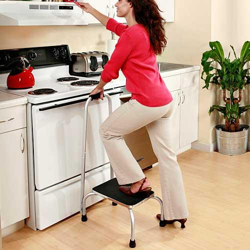 HANDY SINGLE STEP SUPPORT STOOL WITH SAFETY RAIL (BUILT FOR SAFETY AND SECURITY!)