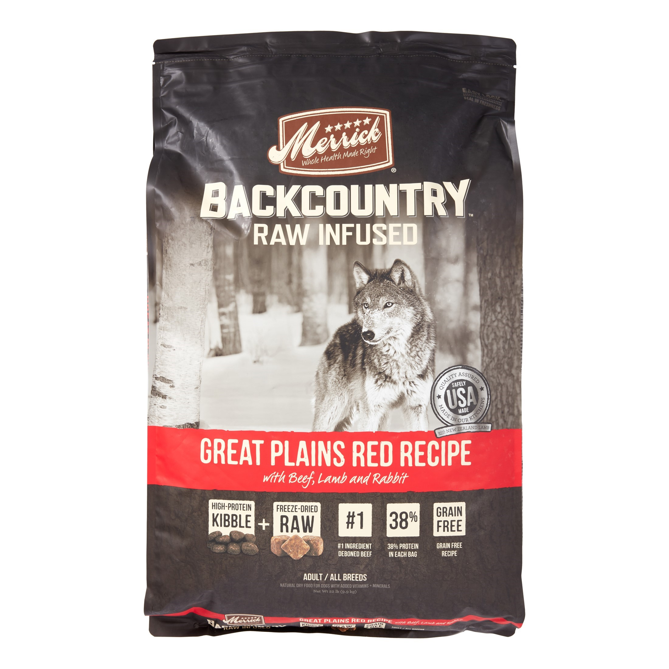 Merrick Backcountry Grain-Free Raw Infused Great Plains Red Recipe Dry Dog Food, 22 lb