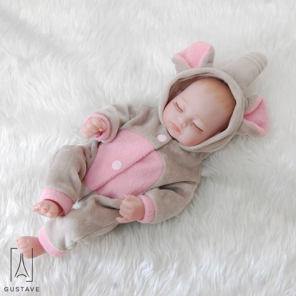 "GustaveDesign 11"" 28cm Lifelike Full Body Silicone Reborn Baby Doll Handmade Newborn Girls Toy Toddler Gift Set for Children 3+ ""Light Gray"""
