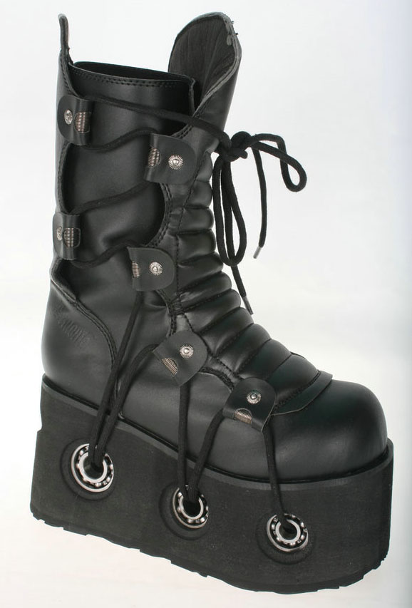"Demonia Furious-201 4 1 2"" Platform Goth Calf Boot Lacing & Metal Detailling by"