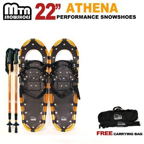 "New MTN-G MTN Man Woman Kid Youth 22"" WHITE Snowshoes with GOLD Nordic Walking Pole Free Bag snowshoe by MTN Snowshoes"
