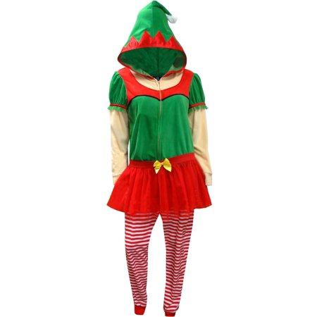 Christmas Elf Onesie Hooded Skirted Women's Union Suit Pajama