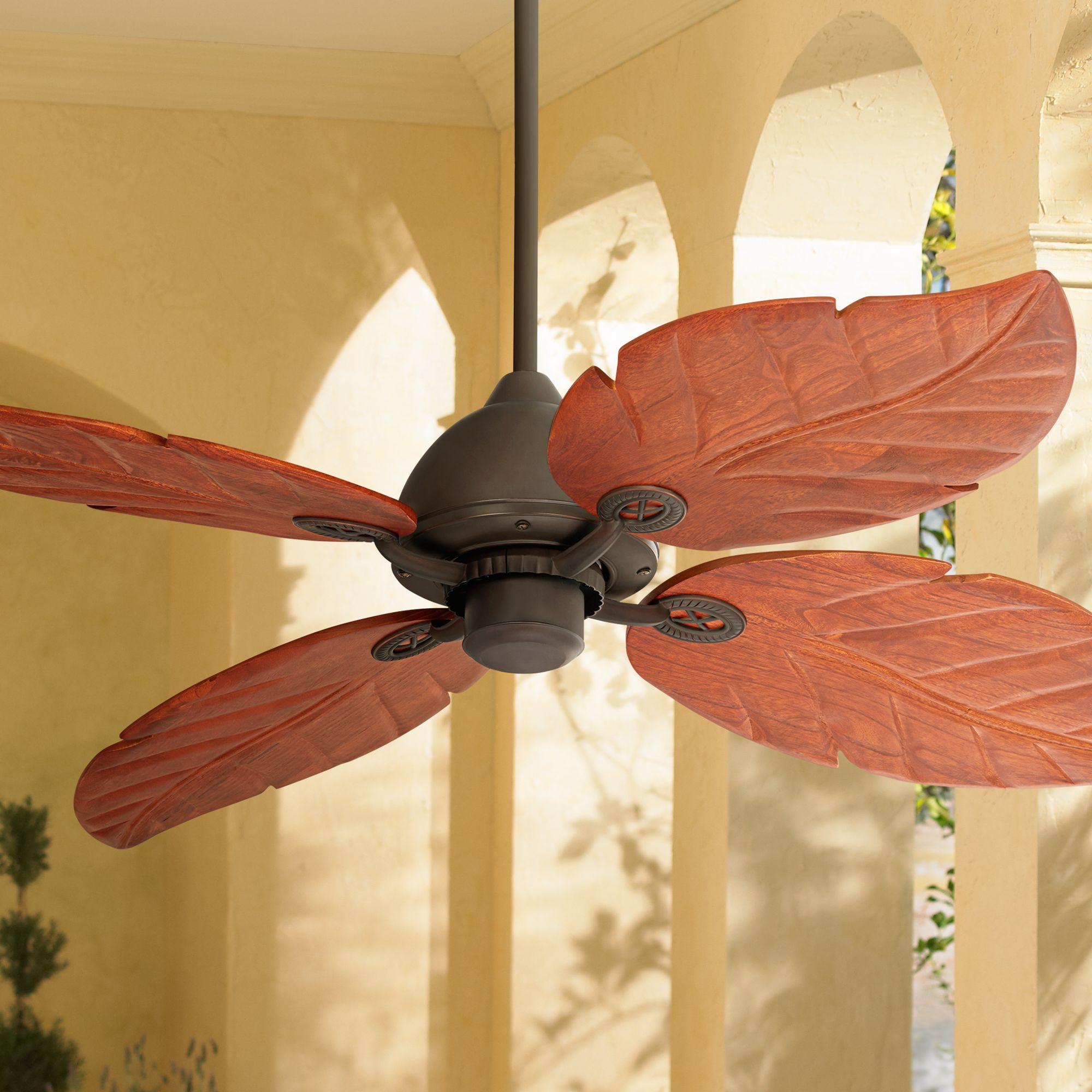 """60"""" Casa Vieja Tropical Outdoor Ceiling Fan Oil Rubbed Bronze Walnut Wood Leaves Damp Rated for Patio Porch"""