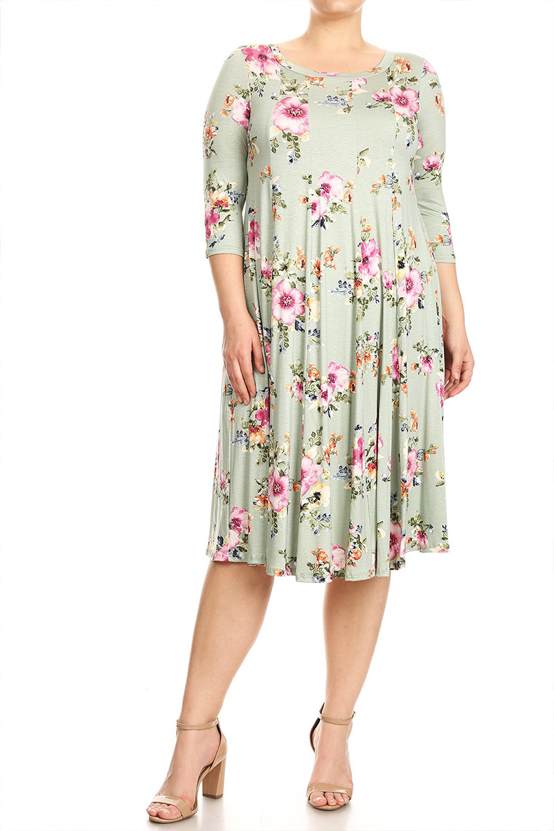 Plus Size Women's 3/4 Sleeve Printed Midi Dress