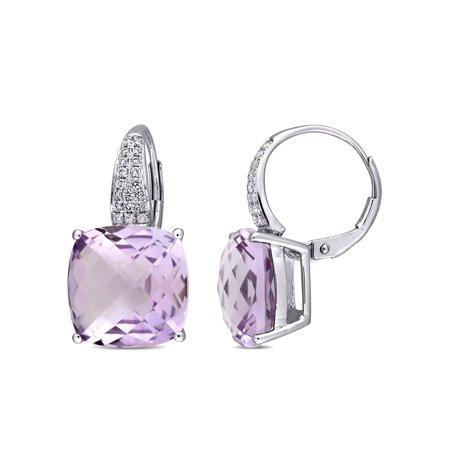 Tangelo 12 Carat T.G.W. Rose de France and 1/5 Carat T.W. Diamond 14kt White Gold Drop Earrings