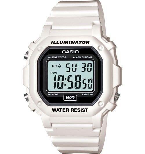 Casio Unisex Digital Watch, White Glossy Resin Strap