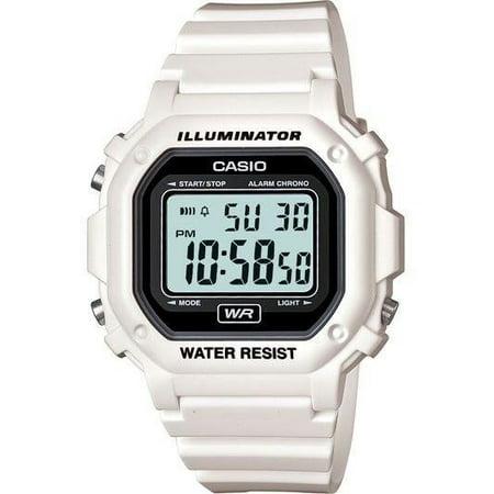 Unisex Digital Watch, White Glossy Resin Strap