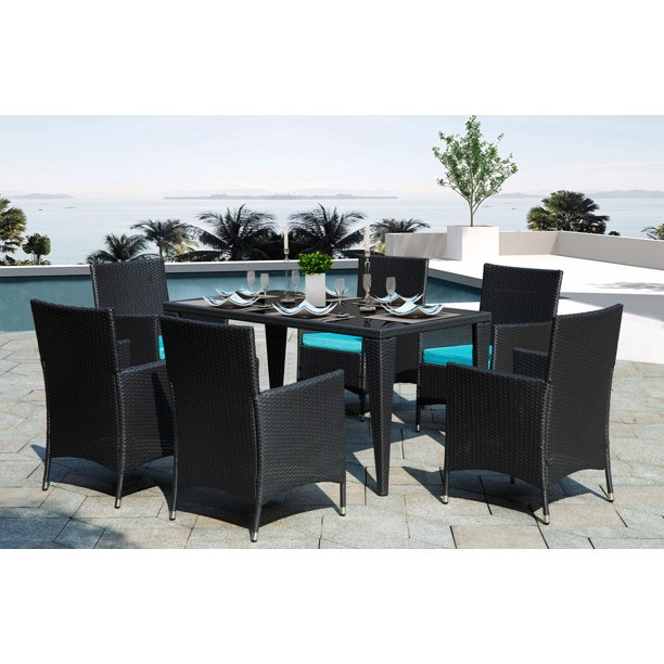7 Piece Outdoor Patio Furniture Set 6 Rattan Patio Chairs With Glass Dining Table All Weather Rectangle Patio Sofa Furniture Wicker Set With Removable Cushions For Backyard Porch Garden L2178 Walmart Com