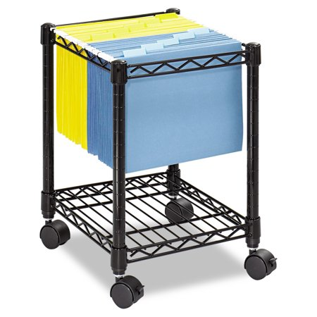 Safco Compact Mobile Wire File Cart  One Shelf  15 1 2W X 14D X 19 3 4H  Black