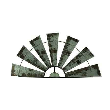 Distressed Metal Half Windmill Wall Sculpture