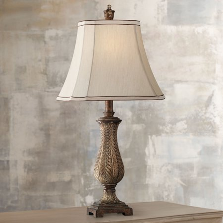 - Regency Hill Traditional Table Lamp Old Oak Antique Petite Vase Beige Rectangular Shade for Living Room Family Bedroom Bedside