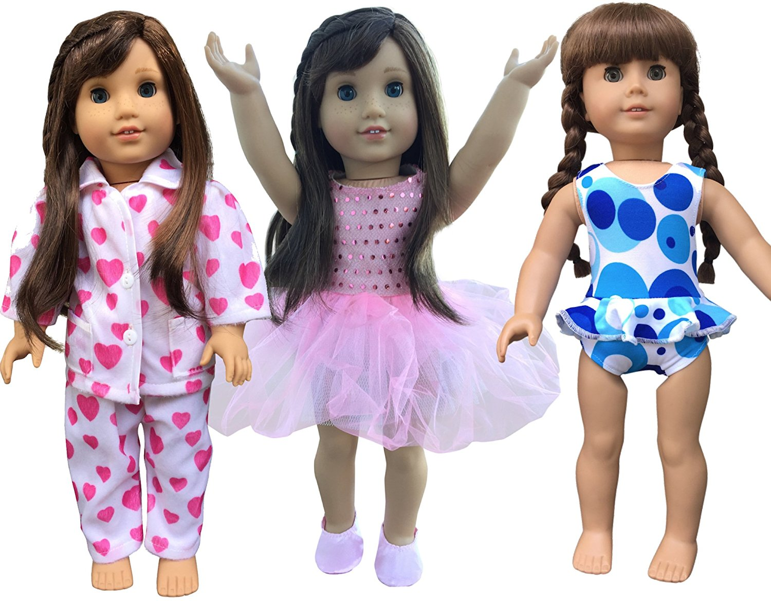 In-Style Doll Clothes for American Girl Dolls, 3 Outfits, 18-Inch, Ballet set by