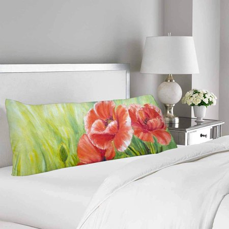 GCKG Poppies Oil Painting Body Pillow Covers Case Protector 20x60 inches - image 1 de 2