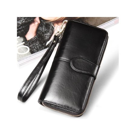 Woman Smooth PU Leather Zipper Wallet Bag Purse Portefeuille Large Capacity Card Holder Phone Bag Bill Pocket with Hand Strap For Lady Christmas New Year (Mas Accessory Pocket)