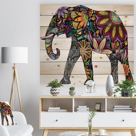 DESIGN ART Designart 'Yellow Cheerful Elephant' Bohemian Print on Natural Pine Wood - Yellow