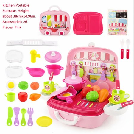 Akoyovwerve 26Pcs Pretend Play Kitchen Set Fun Cooking Toy Set for Children Girls Boys with Cooking Accessories Fruit Vegetable, Pink - Cooking Set For Kids
