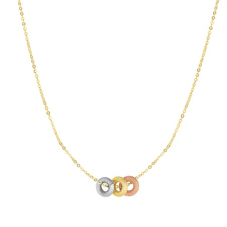 18 Adjustable Link (14K Yellow, Rose & White Gold Textured Cable Chain Link 18