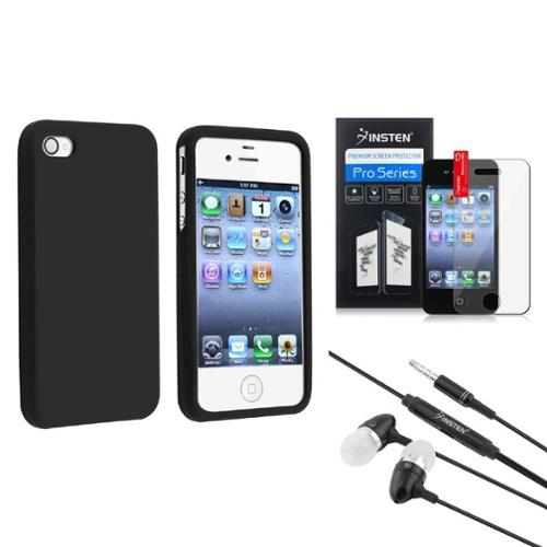 Insten BLACK SILICONE RUBBER Case SP FOR Verizon ATT iPhone 4 s 4S 4GS 4G Black Headset