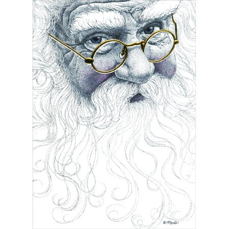 LPG Greetings Santa Face with Gold Glasses Box of 14 Christmas Cards