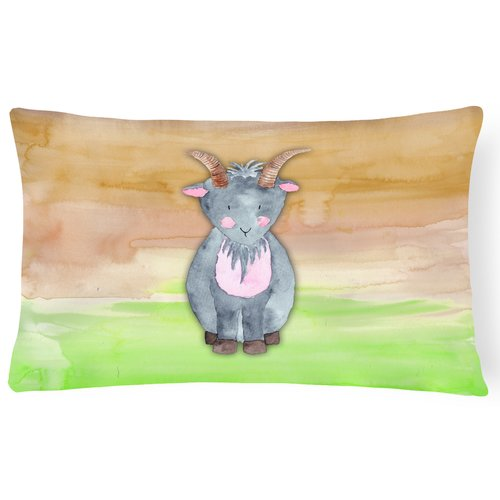 Zoomie Kids Travon Goat Watercolor Lumbar Pillow