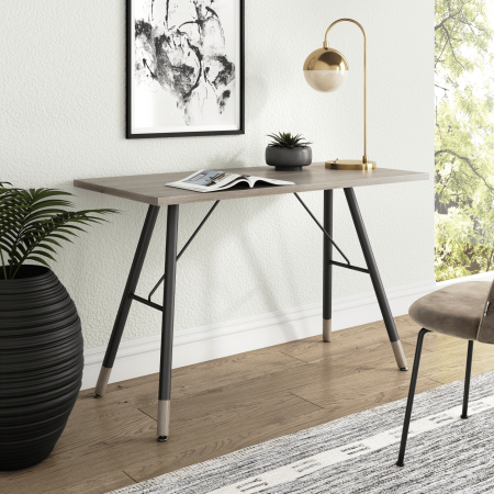 Andi Computer Table, Office Desk, or Small Study Table, Light Wood Top with Metal A-Frame, Oak/Black