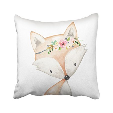 WinHome Colorful Vintage Tribal Boho Bright Watercolor Fox Woodland Baby Nursery Floral Polyester 18 x 18 Inch Square Throw Pillow Covers With Hidden Zipper Home Sofa Cushion Decorative Pillowcases - Woodland Fox