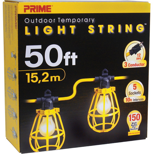 Prime 50-Feet 5-Bulb 12/3 SJTW Outdoor Temporary Light String, Yellow