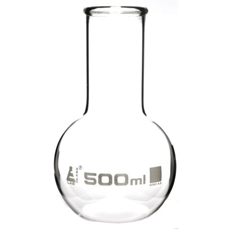 Boiling Flask - Florence, Flat Bottom, Wide Neck with Beaded Rim 500ml, Premium Borosilicate 3.3 Glass - Eisco Labs