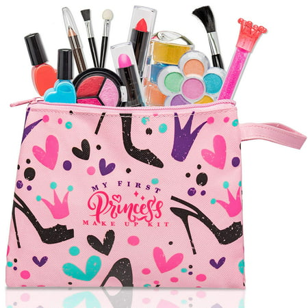 My First Princess Washable Pretend Make Up Kit for Girls – 12 pc Set - Halloween Little Girl Makeup