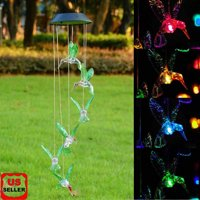 5fdb4fd70 Product Image Solar Changing Color Hummingbird Wind Chime, LINKPAL Solar  Powered LED Hanging Lamp Windchime Light for