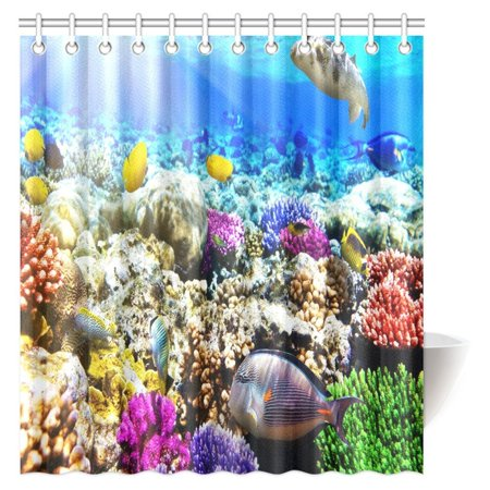 MYPOP Underwater Decor Shower Curtain, Coral Reef with Colorful Fish Ocean Life Marine Creatures Tropical Kids Bathroom Shower Curtain Set with Hooks, 66 X 72 Inches ()