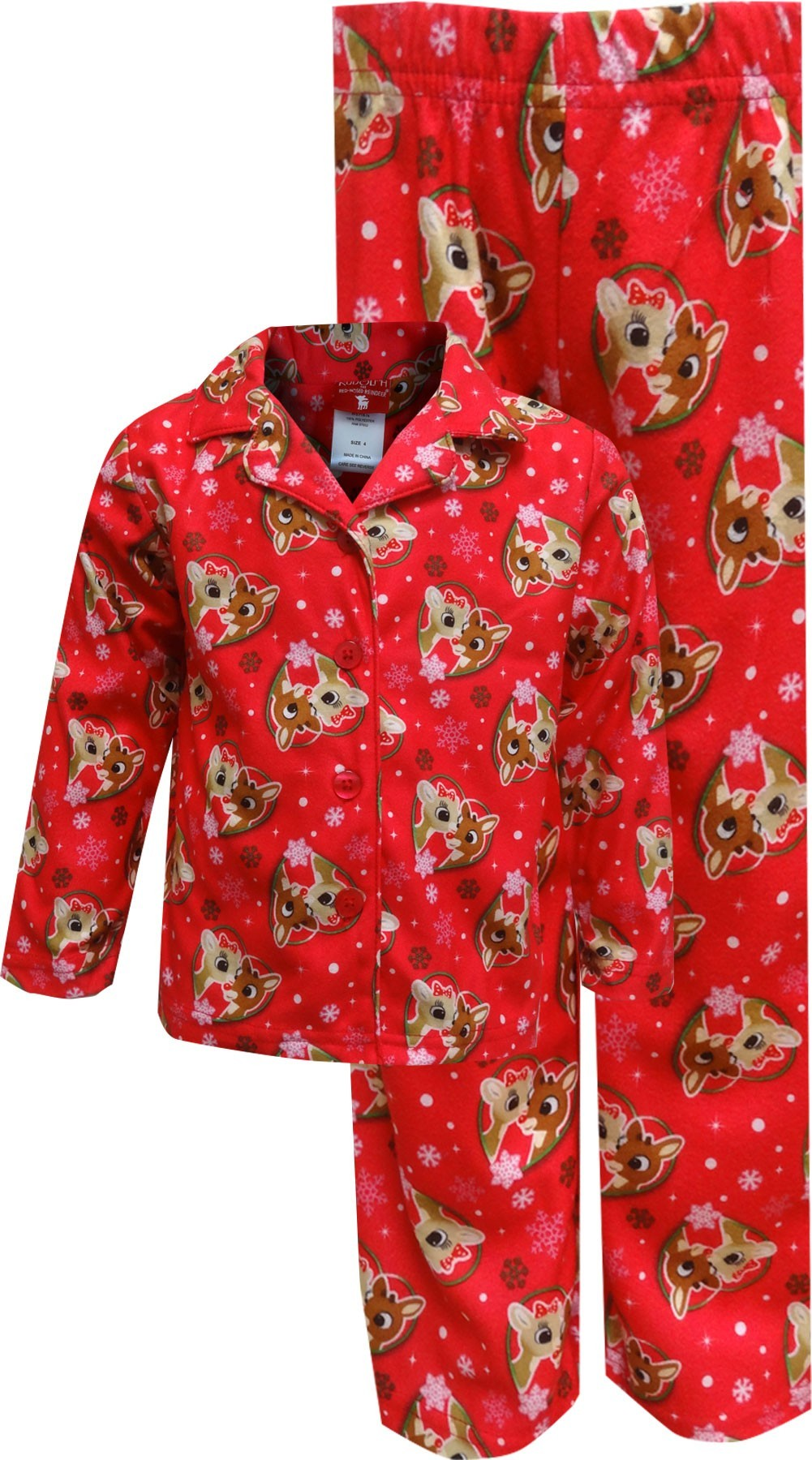 RUDOLPH THE RED NOSED REINDEER GIRLS TODDLER PAJAMA SET 24 MONTHS