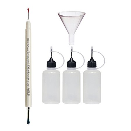 Uchida of America 91GR Double Ended Jewel Picker and Pixiss 20ml Needle Tip Applicator Bottles and 1.5 inch Funnel - Needle Applicator