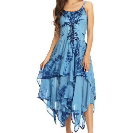 Sakkas Annabella Corset Bodice Handkerchief Hem Dress - Blue - One Size Regular](Corset Stores Near Me)