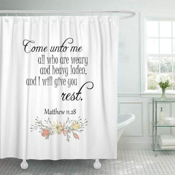 Cynlon Faith I Will Give You Verses Scripture Bathroom Decor Bath Shower Curtain 66x72 Inch Walmart Com Walmart Com