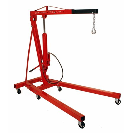 Dragway Tools® 2 Ton Folding Air Hydraulic Engine Hoist Cherry Picker Shop Crane Hoist (Folding Shop Crane)