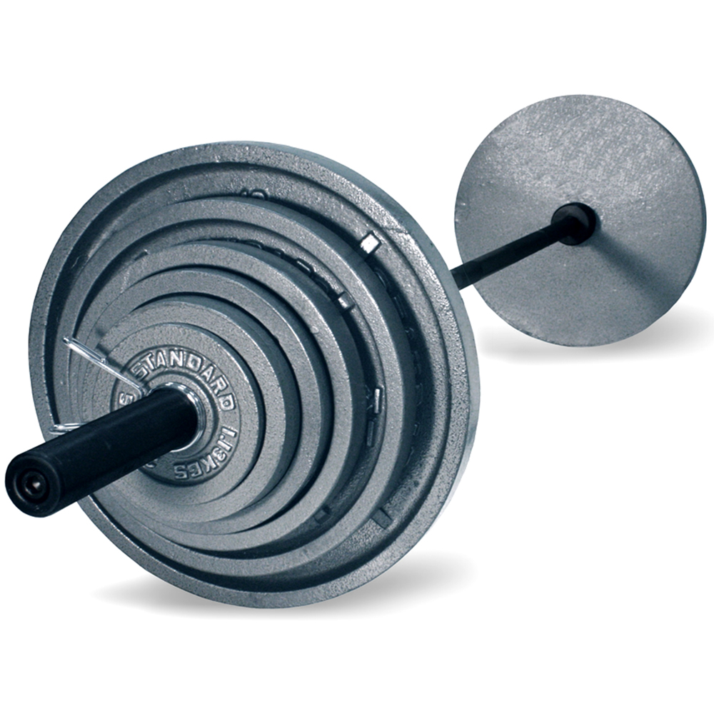 Harvil 300-Pound Gray Olympic Weight Set with 7 Feet Blac...
