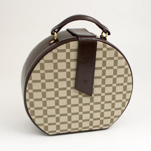 Two-Tone Brown Leather & Cloth Material Round Jewelry Box
