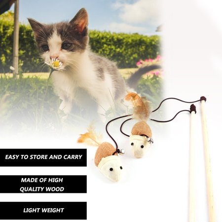 Funny Kitten Play Interaction Toy Cat Teaser Wand Assorted Linen Mouse Toy - image 5 of 6