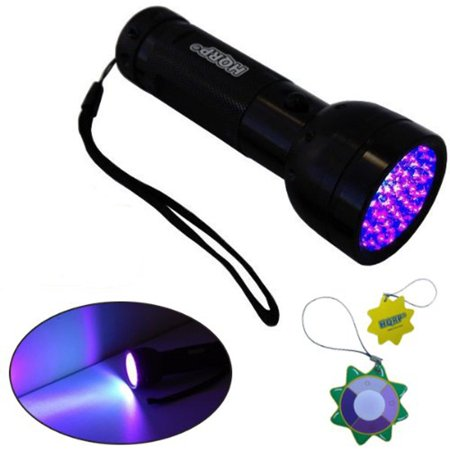 HQRP UV Flashlight Blacklight 51 Leds 390nm for Hunting / Animal Blood Tracking / Pet Urine Stains Detection + HQRP UV Meter