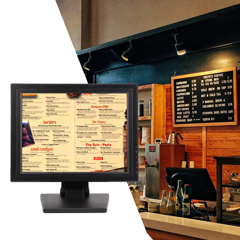 """High Resoution 15"""" Touch Screen POS TFT LED TouchScreen Monitor with Adjustable POS Stand for Retail Restaurant Bar Pub Kiosk"""