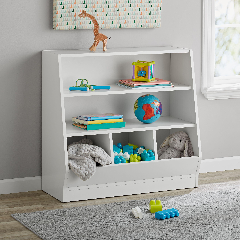 Mainstays Kids Bin Storage and Book Case, White
