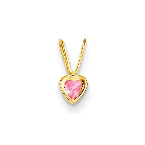 14k Yellow Gold Childs Pink Cubic Zirconia Heart Pendant w  Gift Box by Jewelrypot