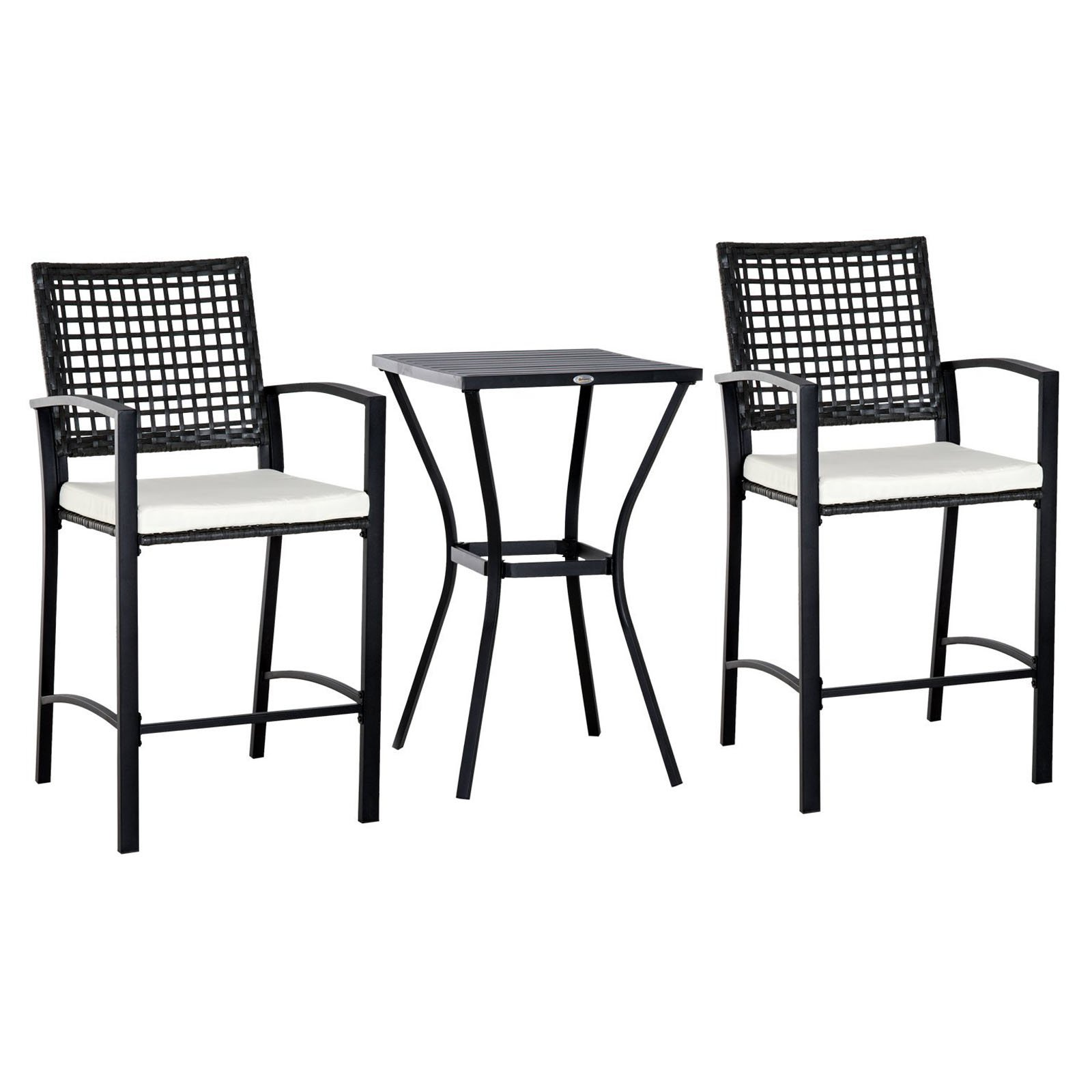 Outsunny Wicker 3 Piece Patio Bar Height Bistro Set