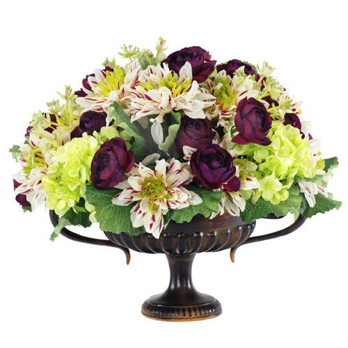Jane Seymour Botanicals Dahlia and Ranunculus Mixed Bouquet in Handle Urn