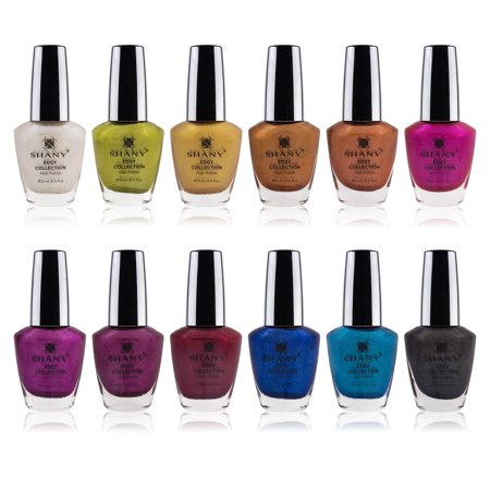 - SHANY Edgy Collection Nail Polish Set - 12 Rebellious Shades with Gorgeous Metallic and Shimmer Finishes in Neutral and Bright Shades